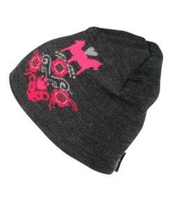 Knitted Beanie mörkgrå rosa